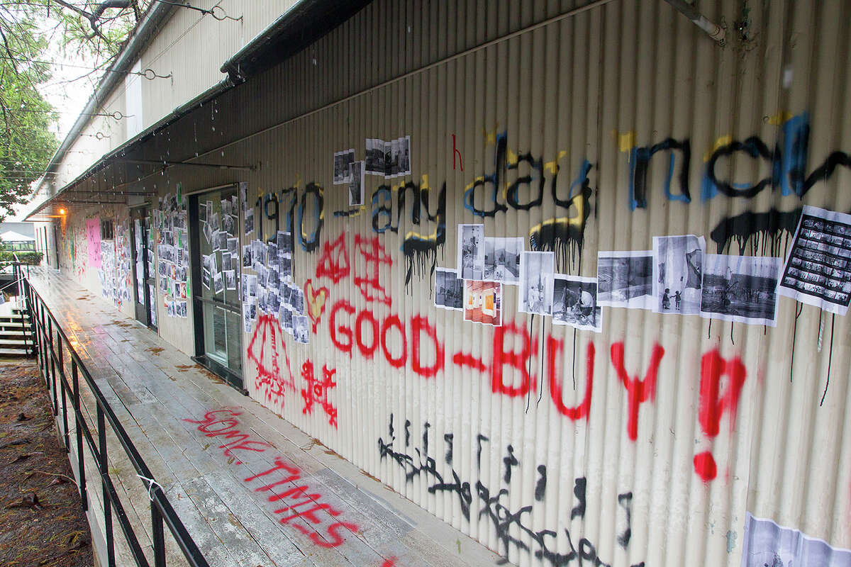 Graffiti is seen painted on the side of the Martel Center,