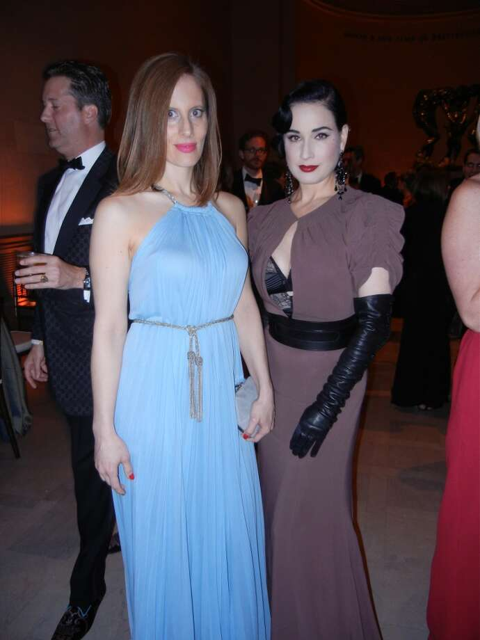 Filmmaker Liz Goldwyn (at left) with burlesque beauty Dita von Teese at the Mid-Winter Gala. Photo: Catherine Bigelow