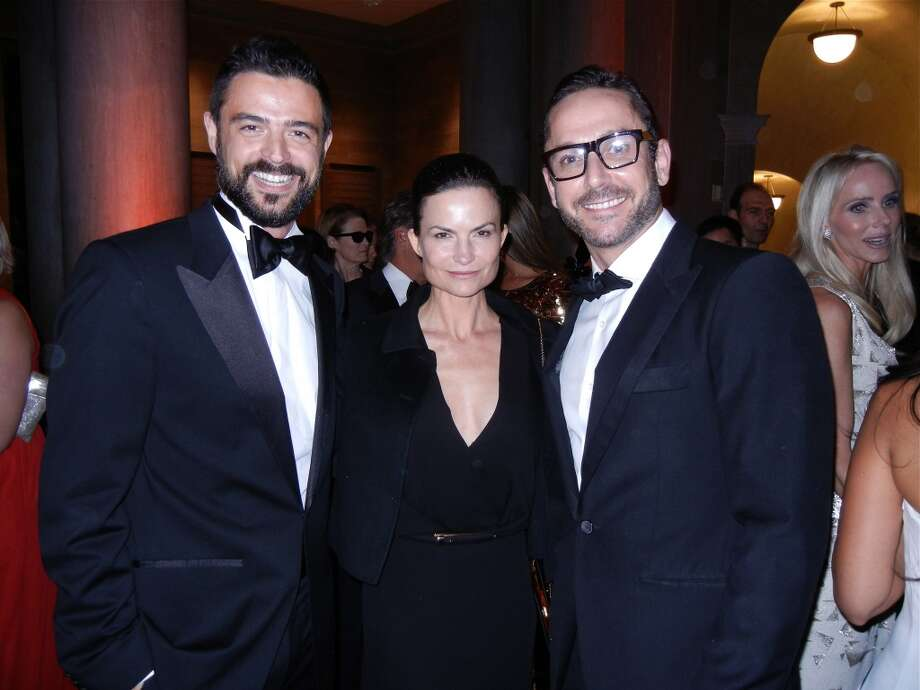 HGTV star John Gidding (at left) with fashion designer Rosetta Getty and his husband, SF Ballet Principal dancer Damian Smith at the Mid-Winter Gala. Photo: Catherine Bigelow