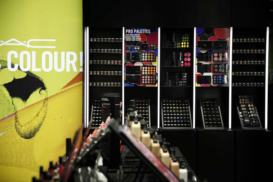 S.F.'s first MAC Pro-Flagship offers the full line, clockwise from top; eye shadows; Paint Stick and Chromacake. Photo: Lea Suzuki, The Chronicle