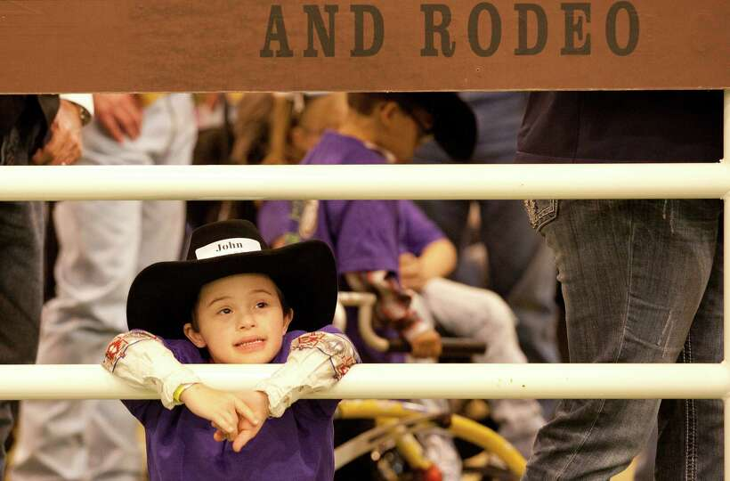 John Powers Wilty waits for the Lil' Rustlers Rodeo to begin at the Houston Livestock Show and Rodeo