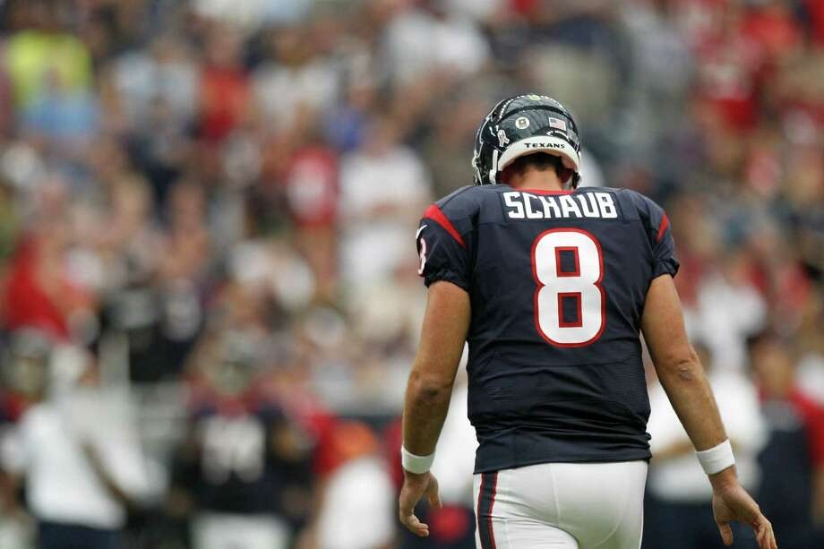 Matt Schaub probably would prefer not to look back on a 2013 season that saw the Texans finish an NFL-worst 2-14 and in which he set a league record by having an interception returned for a touchdown in four consecutive games. Photo: Brett Coomer, Staff / © 2013  Houston Chronicle