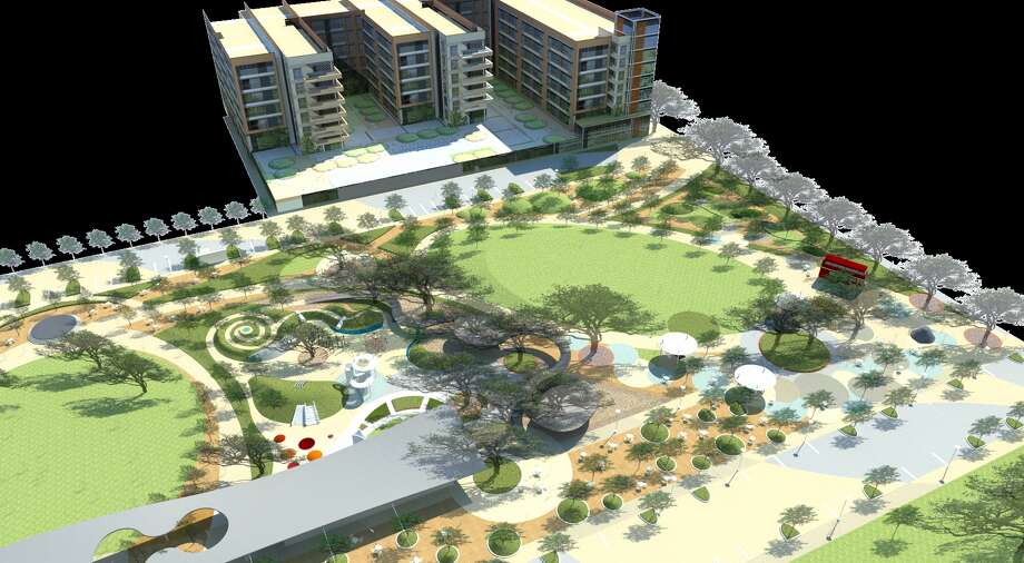 The Upper Kirby District announced a $10 million plan to revitalize Levy Park. The plan includes adjacent office and residential developments by Houston-based developer Midway. Photo: Upper Kirby District / ONLINE_YES