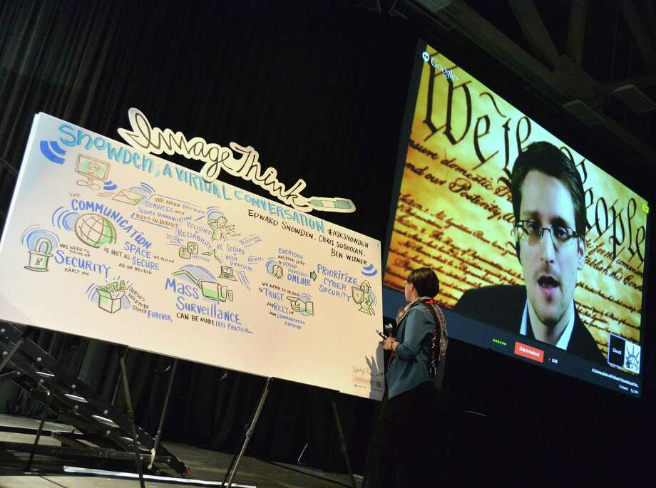 Edward Snowden speaks from Russia at a featured session at the South by Southwest Interactive Festival in Austin. Photo: Michael Buckner / Getty Images / 2014 Getty Images