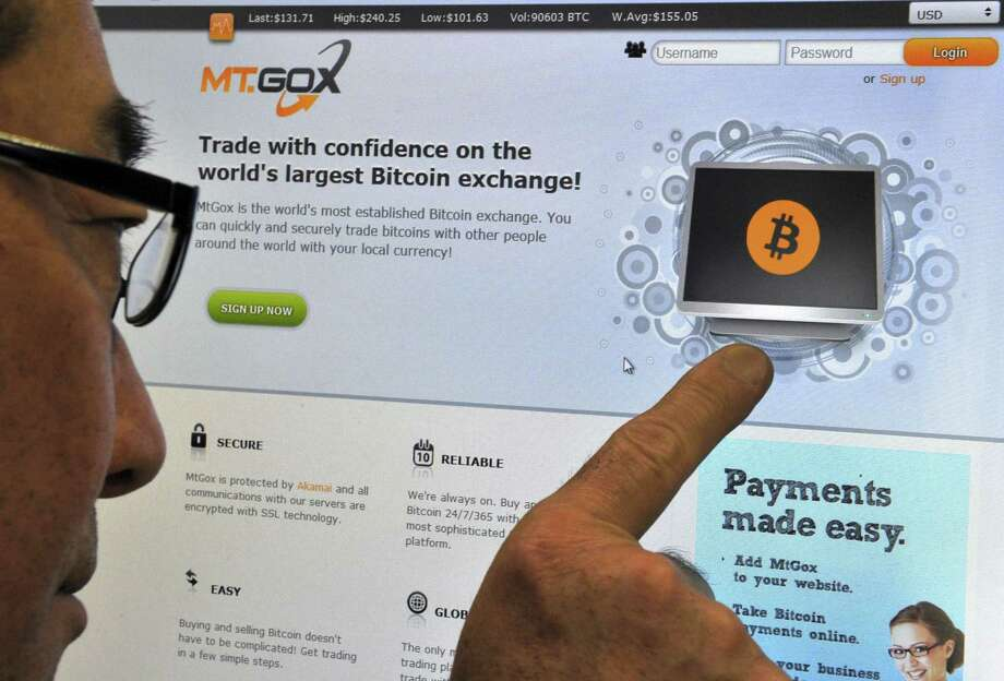 A bitcoin exchange website for Mt. Gox is displayed in Tokyo last month. The exchange had an abrupt closure in February. Photo: YOSHIKAZU TSUNO, Staff / AFP