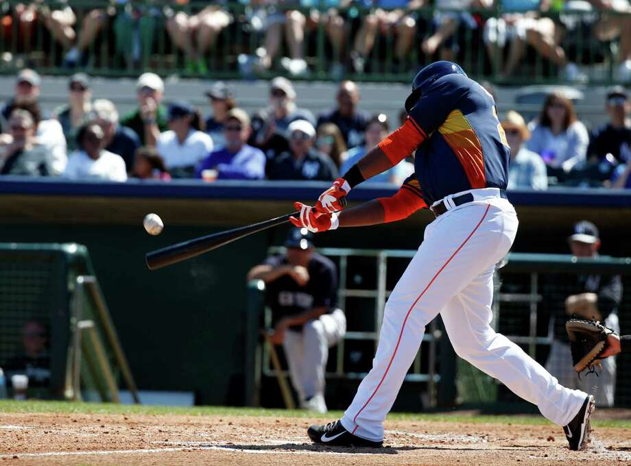 Astros slugger Chris Carter is hitting .308 this spring and has struck out once per 6.5 at-bats, a big improvement over last season's rate of once per 2.39 at-bats. Photo: Alex Brandon, STF / AP