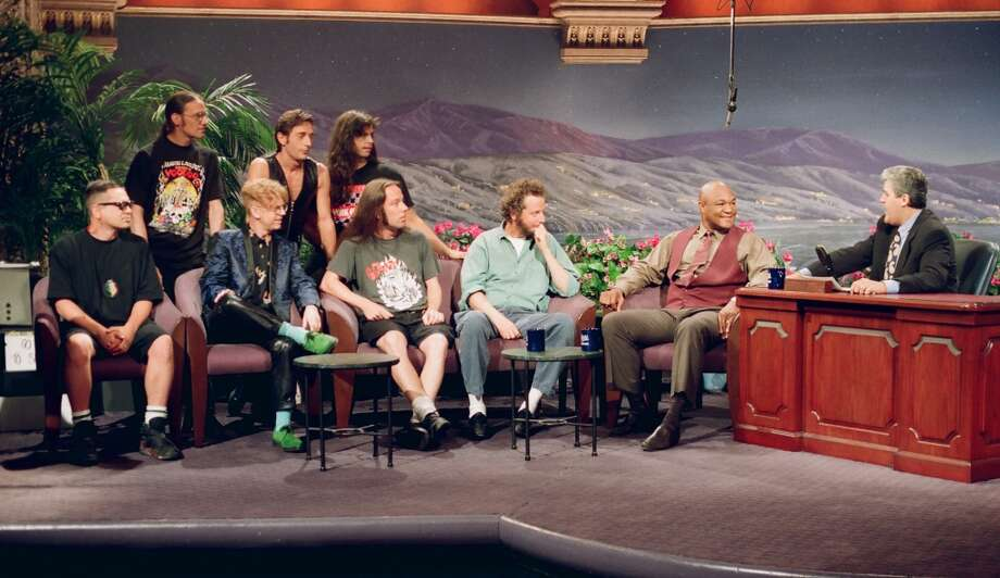 Musical guests Black 47, actor Daniel Stern, Boxer George Foreman during an interview with host Jay Leno on July 6, 1993-- (Photo by: Margaret Norton/NBC/NBCU Photo Bank via Getty Images) Photo: NBC, NBCU Photo Bank Via Getty Images