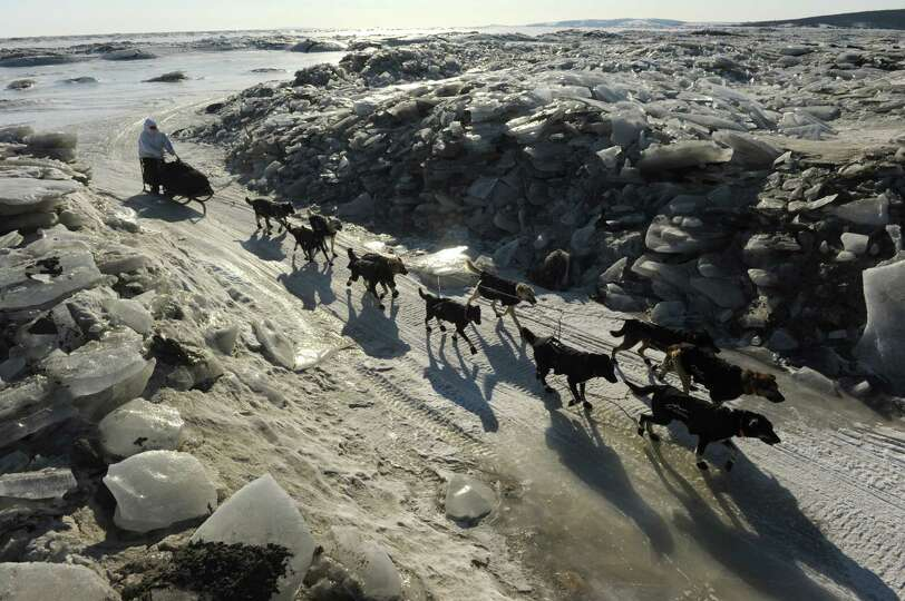 Iditarod musher Martin Buser, from Big Lake, AK, comes in off the ice through a cut in a pile of ice