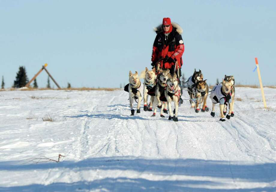 Aliy Zirkle drives her dog team across the portage from Kaltag to Unalakleet. Zirkle is the first musher to reach the Bering Sea in Unalakleet during the 2014 Iditarod Trail Sled Dog Race on Saturday, March 8, 2014. (AP Photo/The Anchorage Daily News, Bob Hallinen) ORG XMIT: AKAND105 Photo: Bob Hallinen, AP / Anchorage Daily News