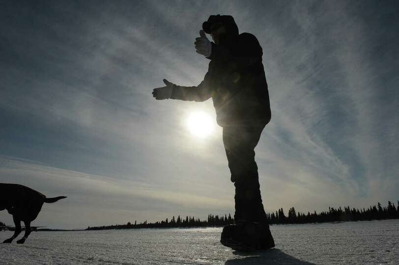 Iditarod musher Jeff King, from Denali, Alaska, takes one of dogs for a walk on the frozen Fish Rive