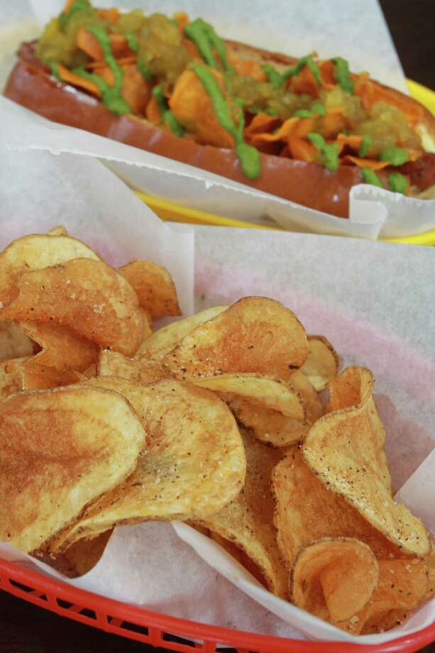 House-made potato chips with a Curryous Frank are simply splendid. Photo: Gary Fountain, Freelance / Copyright 2014 Gary Fountain.