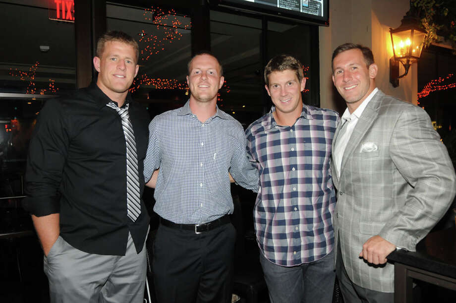 J.J. Watt, left, T. J. Yates, Garrett Graham, and Owen Daniels at the Party for A Cure benefiting Blue Cure Foundation, May 31, 2013. Photo: Daniel Ortiz / handout