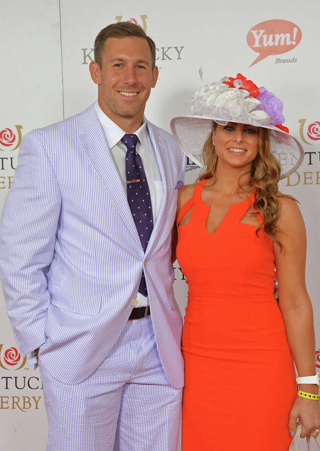 Even on the road, he's a social animal. NFL player Owen Daniel and Angela Mecca celebrate the 139th Kentucky Derby with Moet & Chandon at Churchill Downs on May 4, 2013 in Louisville, Kentucky. Photo: Mike Coppola, Getty Images For Moet & Chandon / 2013 Getty Images