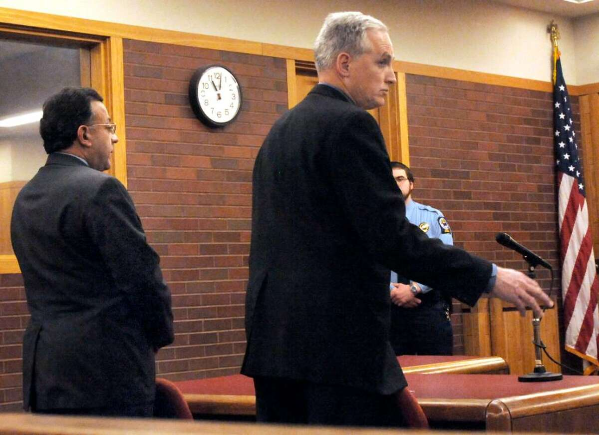 Joseph DaSilva Jr., left, in the courtroom of Danbury Superior Court with his attorney, Eugene Riccio, on Tuesday, Feb.9,2010.