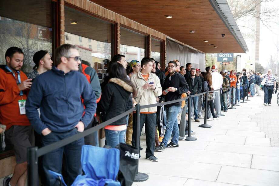 AUSTIN, TX - MARCH 11:  Samsung Galaxy owners line up to get tickets for a special concert on day 4 of The Samsung Galaxy Experience at SXSW 2014 on March 11, 2014 in Austin, Texas. Photo: Rick Kern, Getty Images For Samsung / 2014 Getty Images