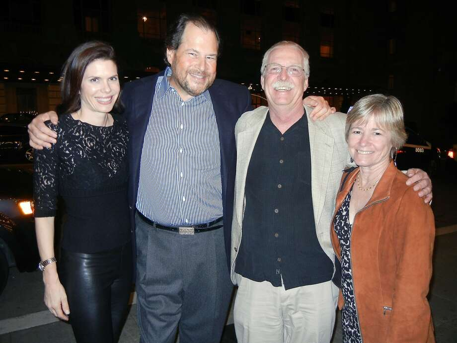 Lynne Benioff (at left) with her husband, Salesforce.com founder-CEO Marc Benioff and Vicki and Greg McManus at Davies Symphony Hall for the Painted Turtle event. March 2014. By Catherine Bigelow. Photo: Catherine Bigelow, Special To The Chronicle