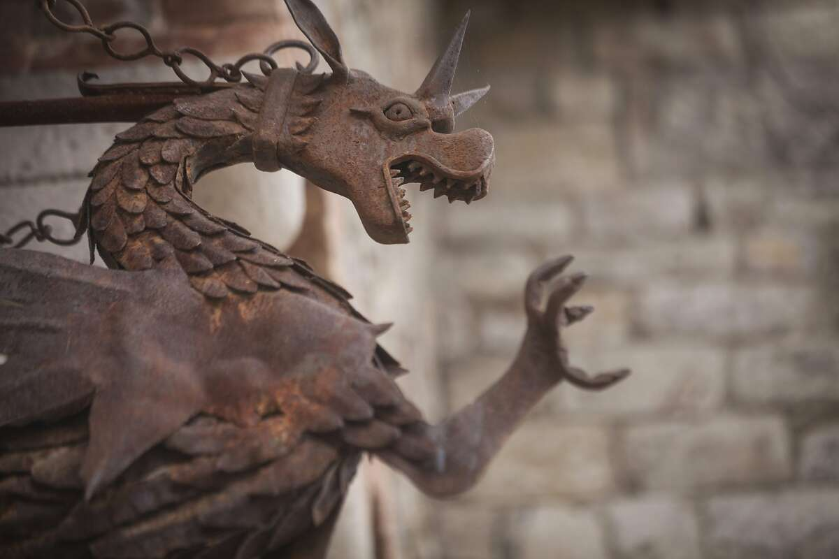 A hand crafted metal dragon at Castello di Amorosa, a winery located in Calistoga that is built to replicate a European medieval castle, on September 30th 2013.
