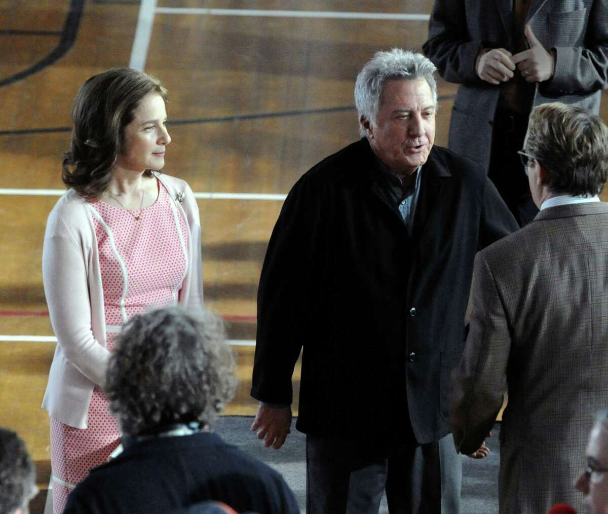 """Actor Dustin Hoffman, right, on the set of """"Boychoir,"""" that was filming at the Greenwich Civic Center in Old Greenwich, Conn.,Tuesday afternoon, March 11, 2014."""