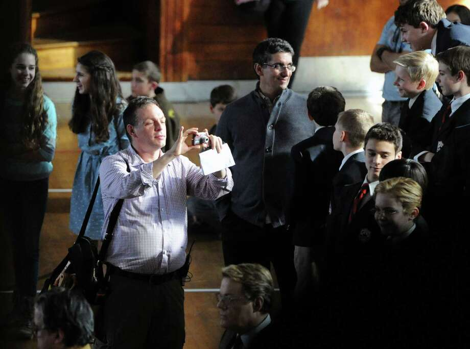 """Actor Dustin Hoffman on the set of """"Boychoir,"""" that was filming at the Greenwich Civic Center in Old Greenwich, Conn.,Tuesday afternoon, March 11, 2014. Photo: Bob Luckey / Greenwich Time"""