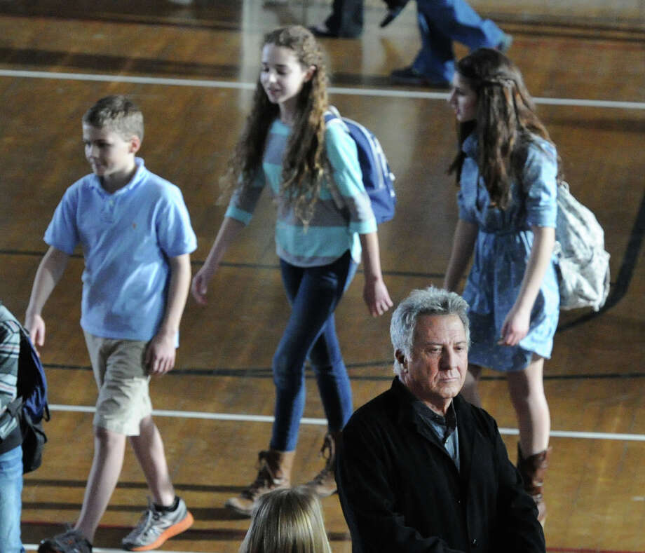 "Actor Dustin Hoffman on the set of ""Boychoir,"" that was filming at the Greenwich Civic Center in Old Greenwich, Conn.,Tuesday afternoon, March 11, 2014. Photo: Bob Luckey / Greenwich Time"