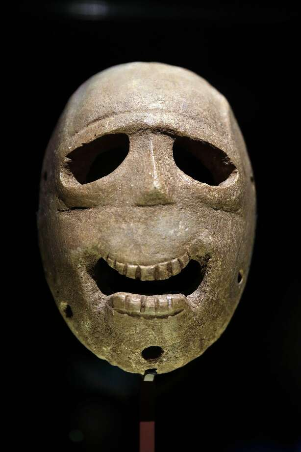 A Jerusalem exhibit includes this 9,000 year-old mask. Photo: Tsafrir Abayov, Associated Press