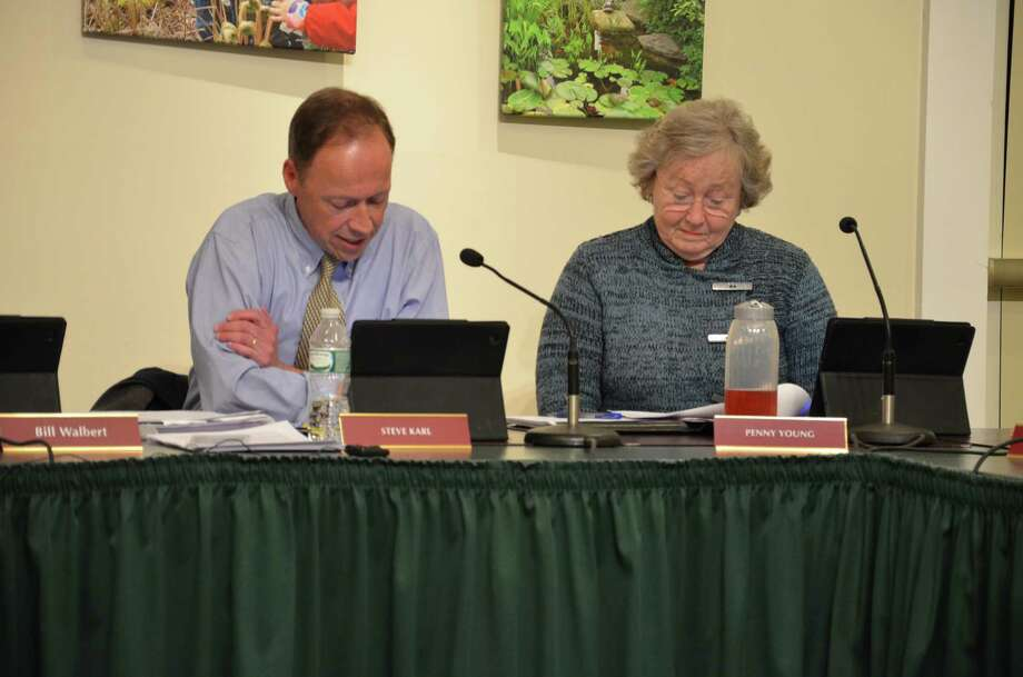 Councilmen Steve Karl and Penny Young at a Feb. 26 Town Council meeting at the Nature Center in New Canaan, Conn. During the meeting, the council agreed to recommend three major changes to the town's Tax Relief for the Elderly or Disabled. Photo: Nelson Oliveira / New Canaan News