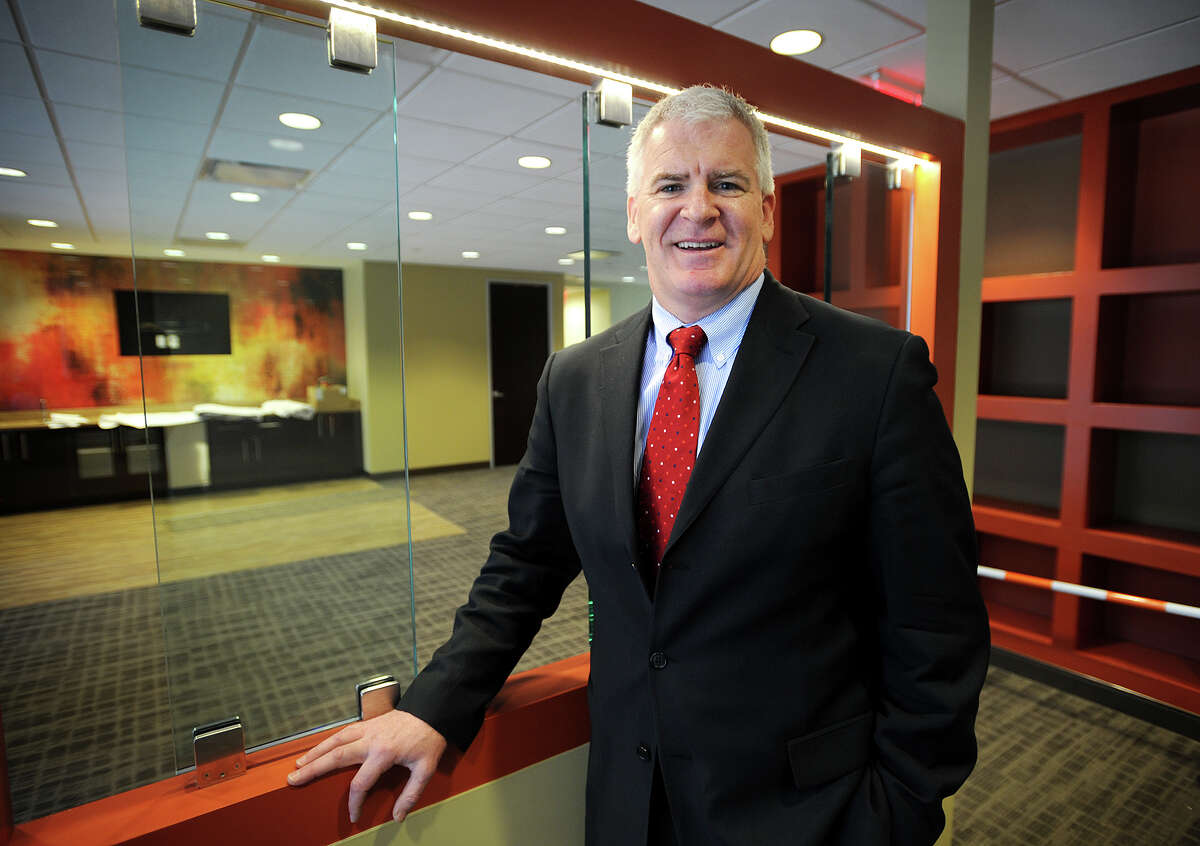 Regus Area Director Christopher Spearing, of Fairfield, at one of his company's new Connecticut locations at 8 Wright Street in Westport, Conn. on Tuesday, March 11, 2014. Regus is the world's largest provider of flexible workplaces.