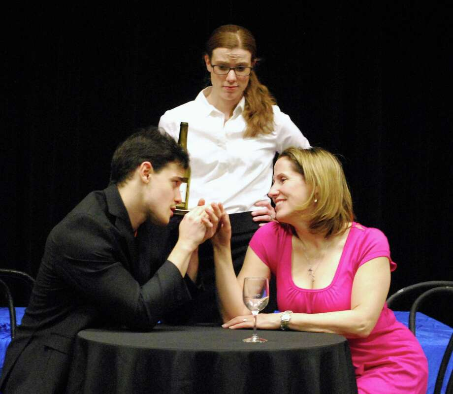 "James Kamensky, Sarah Smegal and Regina Elliott practice their lines for the upcoming play ""Sirens"" at the Darien Arts Center March 14 to 29 in the Weatherstone Studio. Photo: Contributed Photo, Contributed / Darien News"