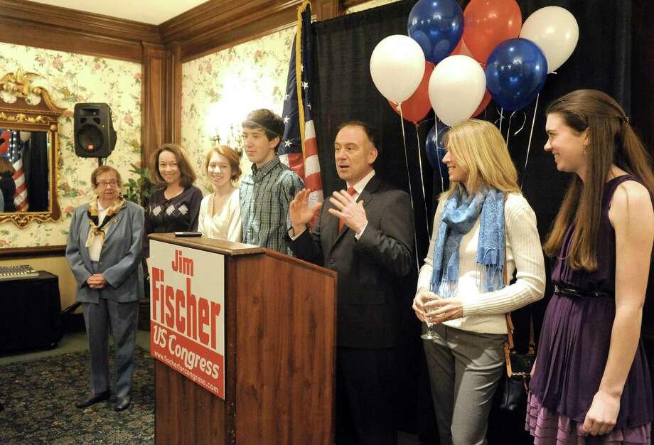 surrounded by family Republican candidate Jim Fischer announces his campaign for the 20th Congressional district on Tuesday, March 11, 2014, in Colonie, N.Y. (Michael P. Farrell/Times Union) Photo: Michael P. Farrell / 00026087A