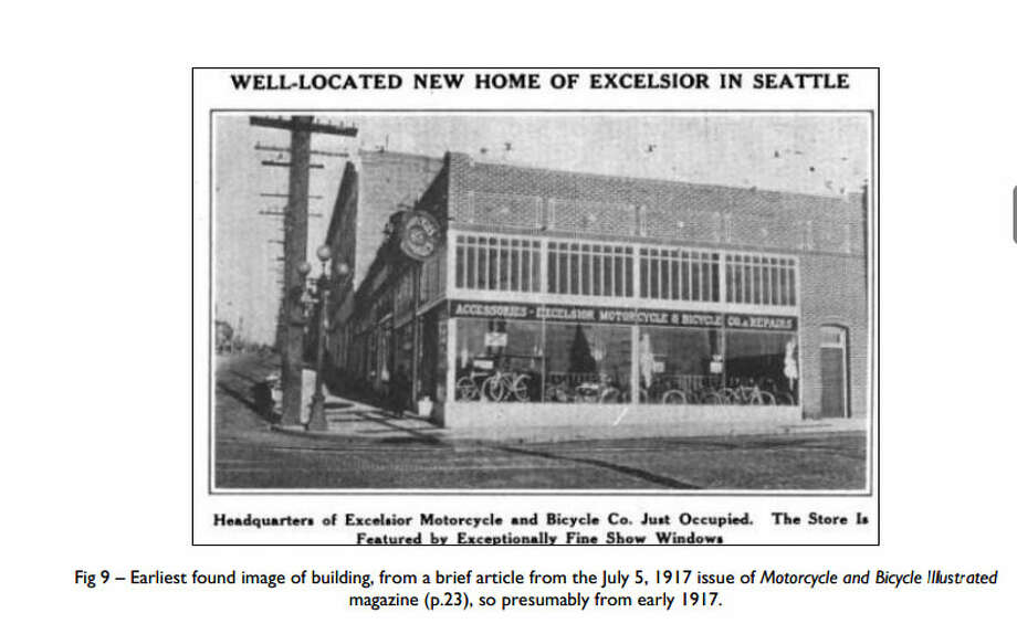 Melrose Building – 1915 – A light industrial building on the Pine Street regrade on Capitol Hill, the structure was once home to a motorcycle and bicycle dealer, and is currently used for office and retail space. Photo: Photos Provided To Seattle Historic Preservation Office