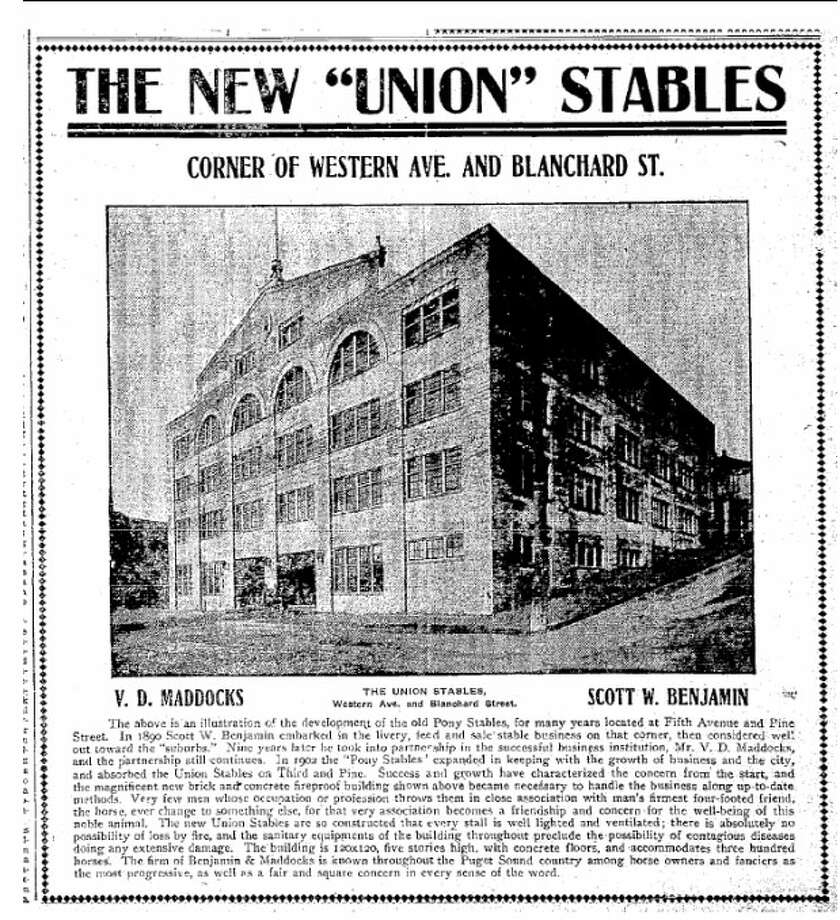 "Union Stables – 1909-1910 – Described as a ""monster five-story brick stable"" in the Seattle Daily Times when it was built, the 43,200 square foot building's current owner wants to rehab the Belltown building. While much of the area was burned in 1910 following a fire at another stable, the large livery stable was spared. Photo: Photos Provided To Seattle Historic Preservation Office"