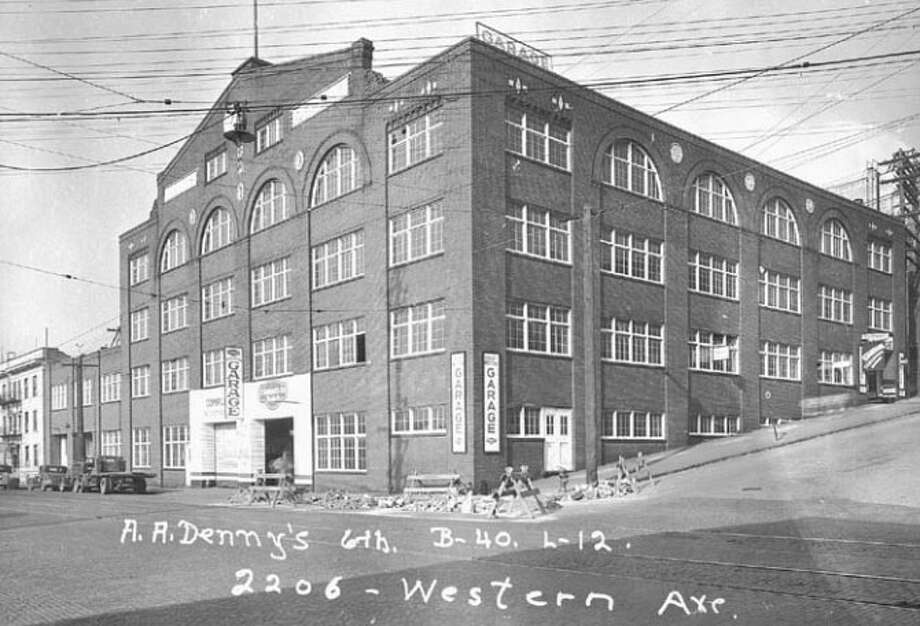 """Union Stables – 1909-1910 – Described as a """"monster five-story brick stable"""" in the Seattle Daily Times when it was built, the 43,200 square foot building's current owner wants to rehab the Belltown building. While much of the area was burned in 1910 following a fire at another stable, the large livery stable was spared. Photo: Photos Provided To Seattle Historic Preservation Office"""
