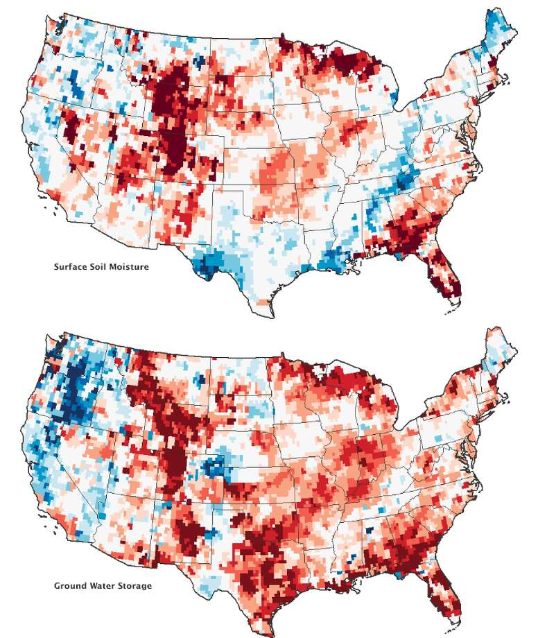 Category: Data Section.The deep drought in the United States that has fueled wildfires, damaged crops, and caused near record-low water levels on the Mississippi River continued through January 2013. Though there has been some relief from a series of winter storms, a pair of satellites operated by NASA show that groundwater supplies continue to be unusually low in many parts of the country.The maps above combine data from the twin satellites of the Gravity Recovery and Climate Experiment (GRACE) with other satellite and ground-based measurements to model the relative amount of water stored near the surface and underground.