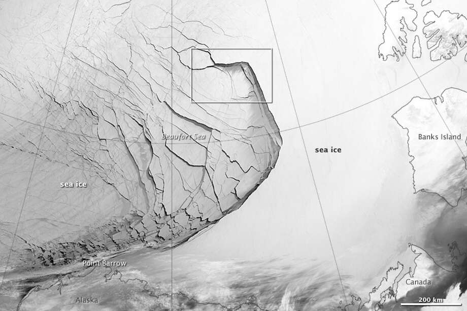 Category: Art Section.The Visible Infrared Imaging Radiometer Suite (VIIRS) on the Suomi NPP satellite captured this view of extensive sea-ice fracturing off the northern coast of Alaska. The event began in late-January and spread west toward Banks Island throughout February and March 2013.Visualizations of the Arctic often give the impression that the ice cap is a continuous sheet of stationary, floating ice. In fact, it is a collection of smaller pieces that constantly shift, crack, and grind against one another as they are jostled by winds and ocean currents. Especially during the summer—but even during the height of winter—cracks—or leads—open up between pieces of ice.