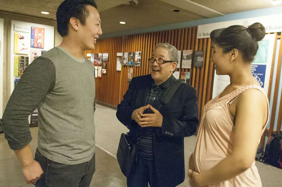 "Philip Kan Gotanda (center) discusses his ""After the War Blues"" with actors Intae Kim (left) and Dela Aisha Meskienyar. Photo: Ryan Montgomery"