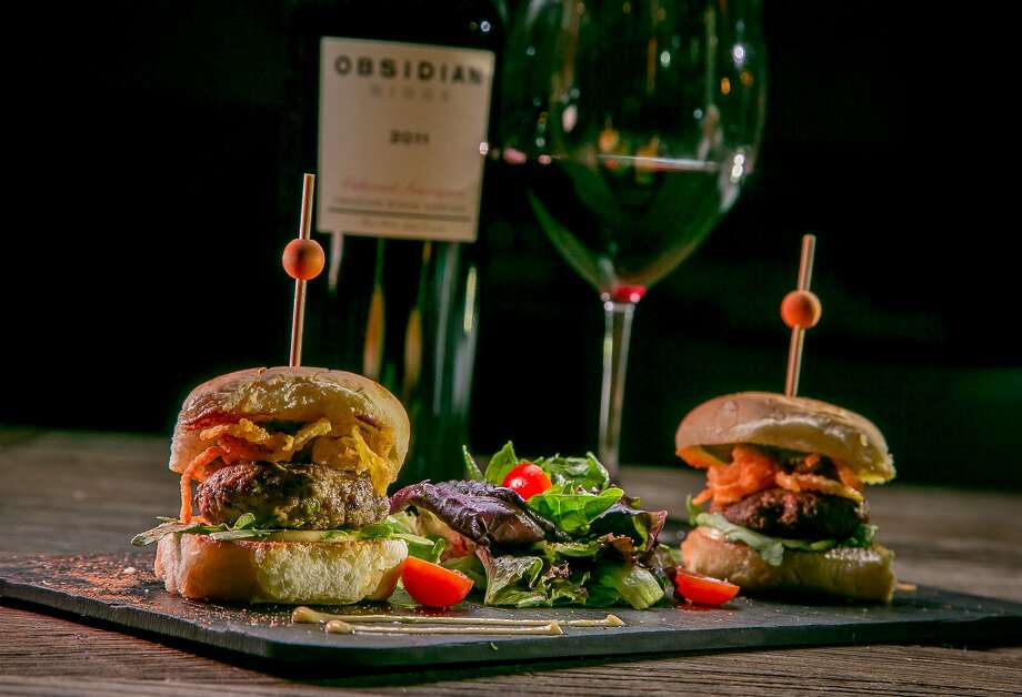 The minty Shikampuri lamb sliders, which also can arrive on flatbread, pair well with an Obsidian Cabernet. Photo: John Storey, Special To The Chronicle