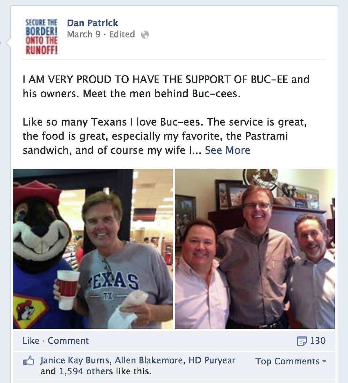 State Sen. Dan Patrick posted to his Facebook page Sunday March 9, 2014, as seen in this Tuesday March 11, 2014 screen capture, that the owners of convenience store chain Buc-ee's have endorsed Patrick in his lieutenant governor bid.