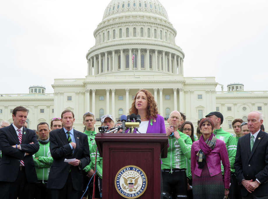 Congresswoman Elizabeth Esty speaks on the West Lawn of Capitol Hill in Washington, Tuesday, March 11, 2014, with other elected officials from Connecticut and Team 26, a group of cyclists who rode from Newtown, Conn., to Washington, in honor of victims of gun violence and to urge Congress to act to prevent gun violence. Photo: Contributed Photo / Connecticut Post Contributed