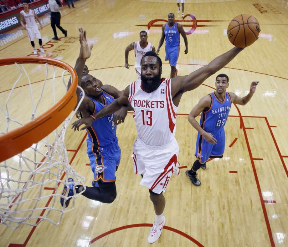 Jan. 16, 2014: Thunder 104, Rockets 92 Harden's line: 16 points (6-16 from the field), 8 assists and 7 rebounds The Rockets scored 73 first-half points and then came out and only put up 19 in the second half as the Thunder came roaring back to steal the win in Houston. Harden was held scoreless in the second half. Photo: David J. Phillip, Associated Press
