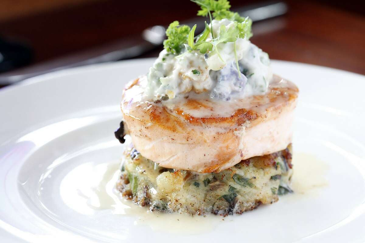 The roulade of salmon with potato galette, creamy cauliflower and jura wine sauce at Fish Story in Napa, Calif., on Tuesday, March 4, 2014.