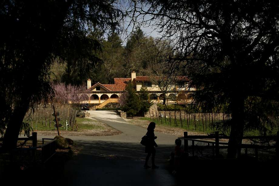 Jen Robinson of San Jose walks past the estate at the Von Strasser Winery in Calistoga. Photo: Sarah Rice, Special To The Chronicle