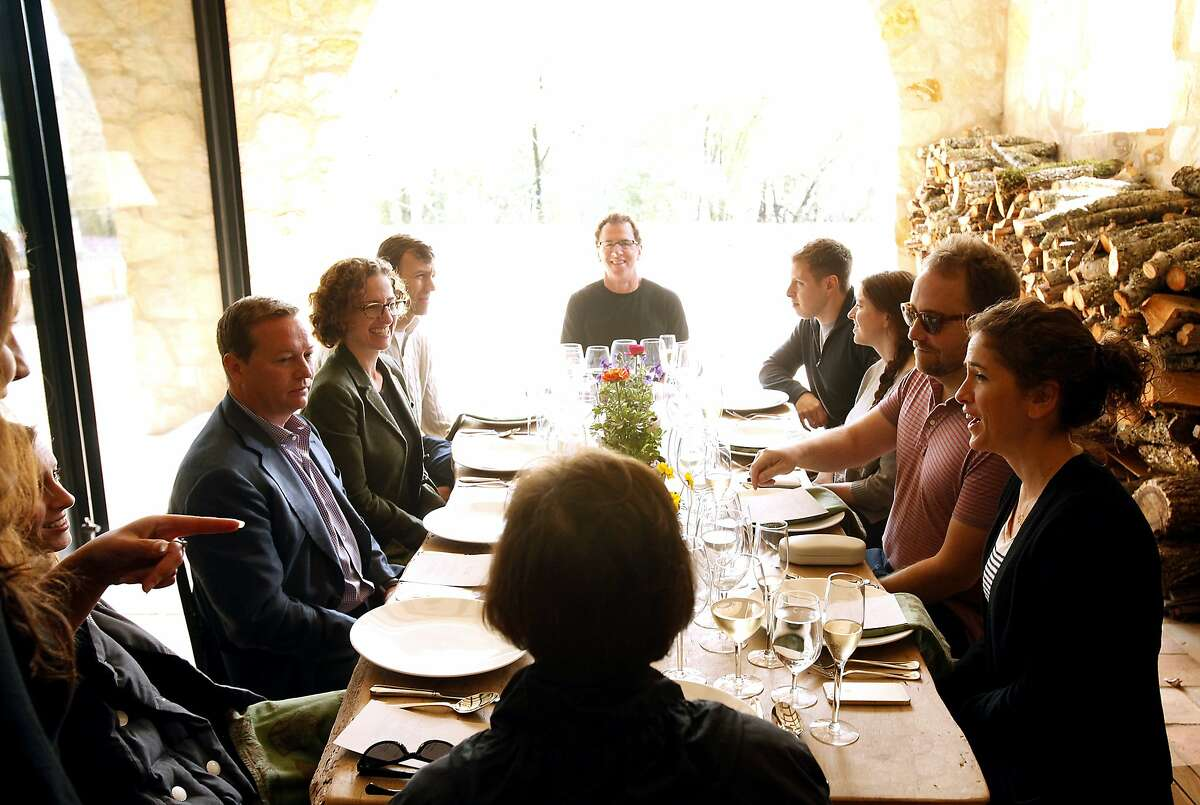 Guests dine on the patio during a lunch and wine tasting at Kelly Fleming Wines in Calistoga, Calif., on Saturday, March 1, 2014.
