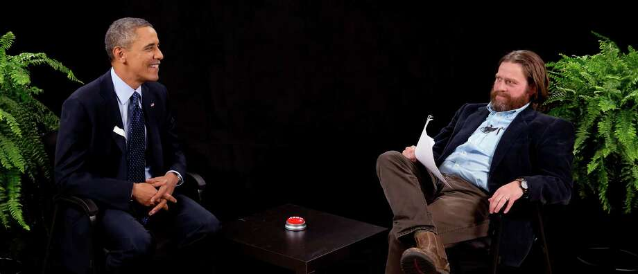 """President Barack Obama told comedian Zach Galifianakis that he came on """"Between Two Ferns"""" to plug the Affordable Care Act, especially to young people. Photo: HOEP / Funny Or Die"""