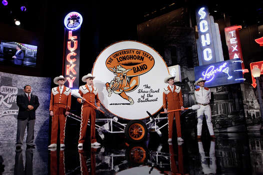 """The UT Longhorns Band visits the set of """"Jimmy Kimmel Live"""" on Monday, March 10, 2014, in Austin. Photo: Randy Holmes, ABC Via Getty Images / 2014 American Broadcasting Companies, Inc."""