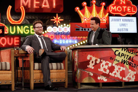 """Jimmy Kimmel interviews """"Neighbors"""" actor Seth Rogen on Monday, March 10, 2014, for the first show of a week of """"Jimmy Kimmel Live"""" broadcasts from  Austin. Photo: Randy Holmes, ABC Via Getty Images / 2014 American Broadcasting Companies, Inc."""