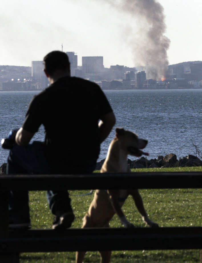 Vince Pineda, with his dog Kipper, watches a fire across the bay from a park in Alameda, Calif., on Tuesday, March 11, 2014, as buildings under construction in the Mission Bay area of San Francisco burn in a four alarm blaze. Photo: Carlos Avila Gonzalez / The Chronicle / ONLINE_YES