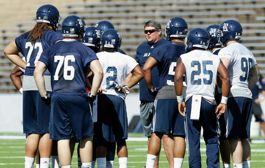 Rice Owls head coach David Bailff  talks with his senior players during Rice's first spring football practice on Tuesday, March 11, 2014. (Bob Levey/For The Chronicle) Photo: Bob Levey, Houston Chronicle / ©2014 Bob Levey
