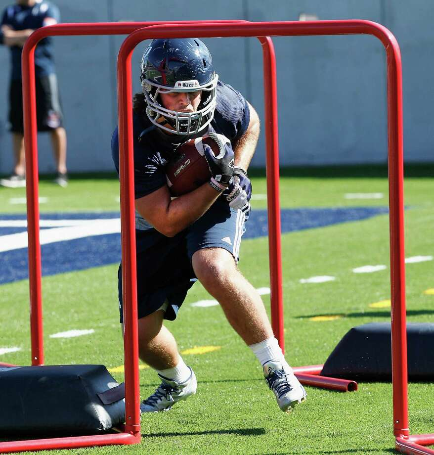 Rice Owls running back Luke Turner (35) during Rice's first spring football practice on Tuesday, March 11, 2014. (Bob Levey/For The Chronicle) Photo: Bob Levey, Houston Chronicle / ©2014 Bob Levey