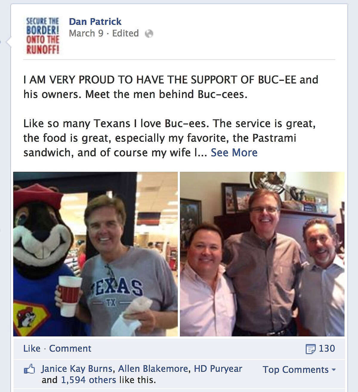 Republican lieutenant governor hopeful Dan Patrick has posted this notification on his Facebook page.