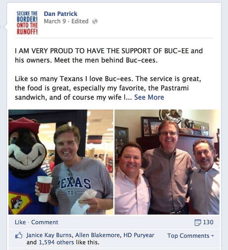 Republican lieutenant governor hopeful Dan Patrick has posted this notification on his Facebook page. Photo: SCREEN CAPTURE